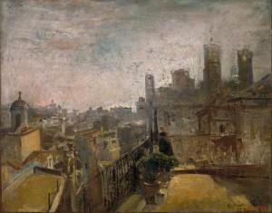Ramon Martí i Alsina. Vista de Barcelona des d'un terrat de la Riera de Sant Joan, 1889